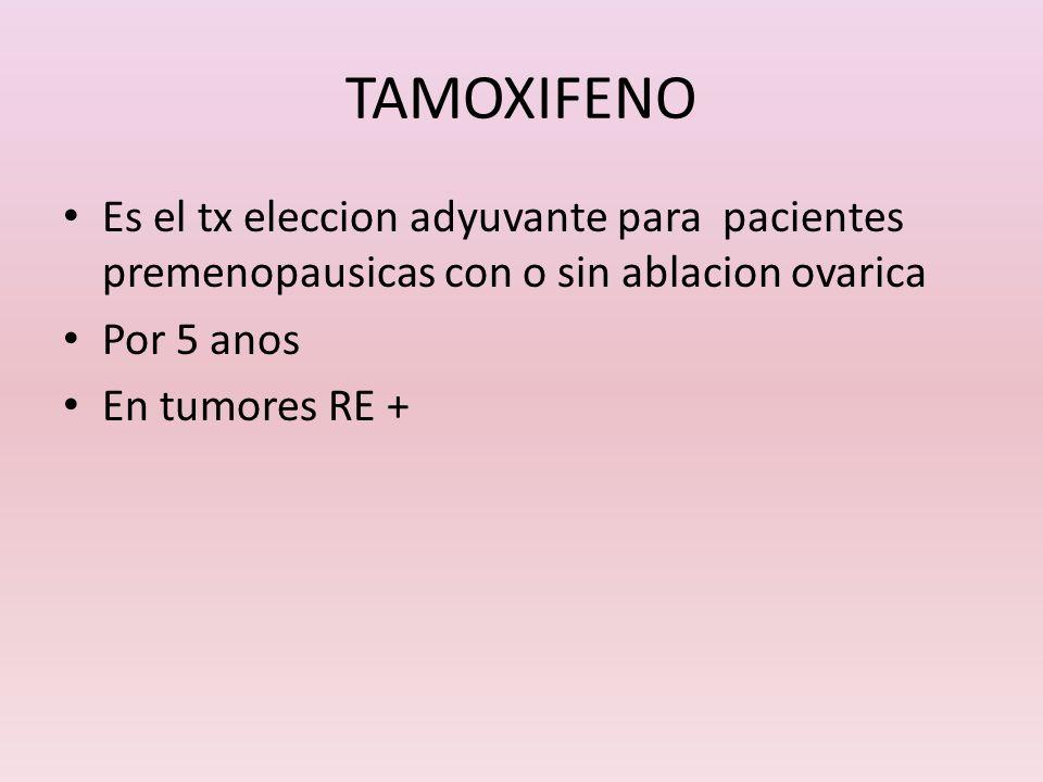 TAMOXIFENO Es el tx eleccion adyuvante para pacientes premenopausicas con o sin ablacion ovarica Por 5 anos En tumores RE +