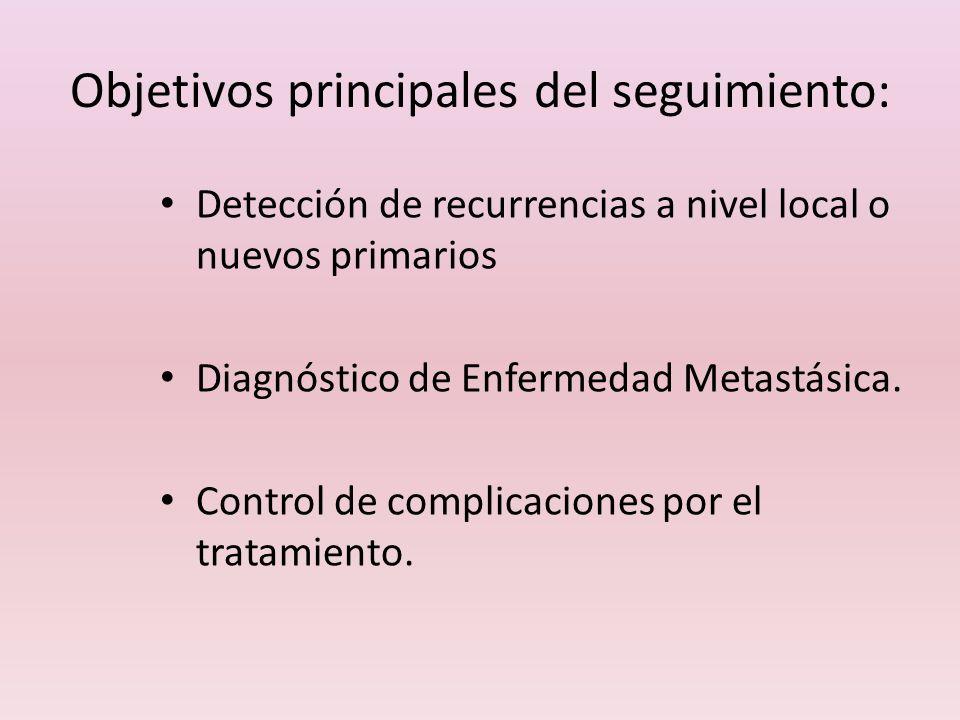 Objetivos principales del seguimiento: Detección de recurrencias a nivel local o nuevos primarios Diagnóstico de Enfermedad Metastásica. Control de co
