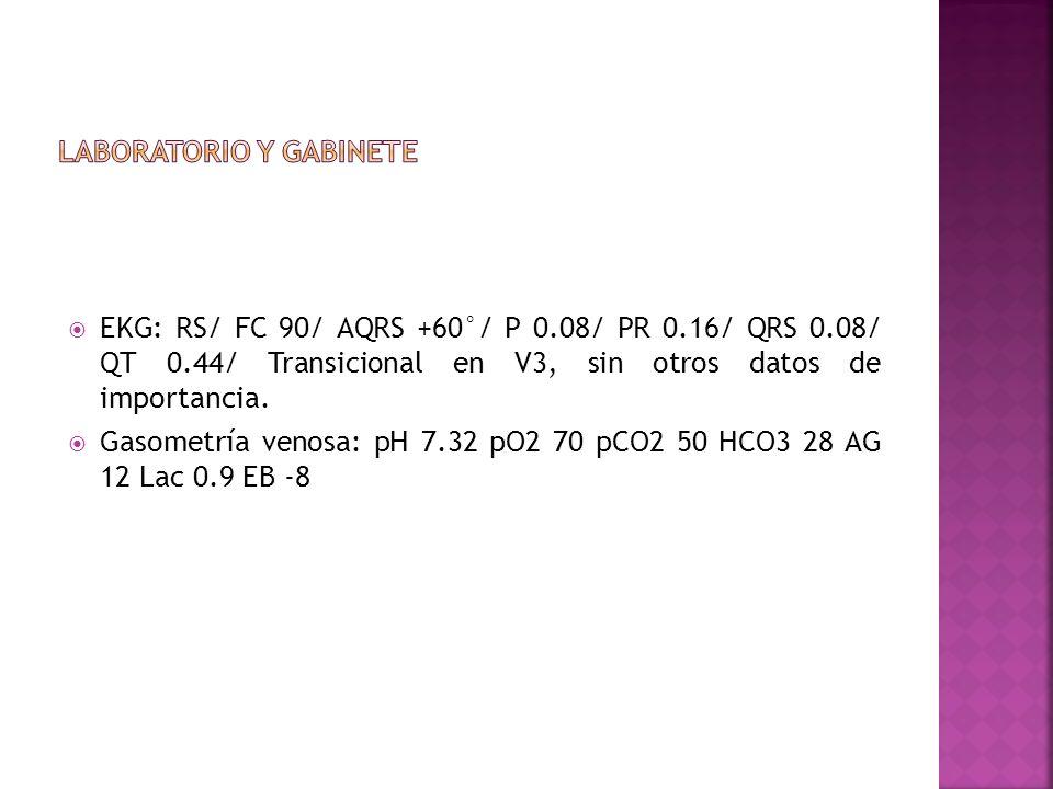 EKG: RS/ FC 90/ AQRS +60°/ P 0.08/ PR 0.16/ QRS 0.08/ QT 0.44/ Transicional en V3, sin otros datos de importancia. Gasometría venosa: pH 7.32 pO2 70 p