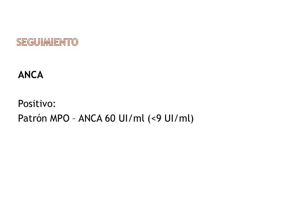 ANCA Positivo: Patrón MPO – ANCA 60 UI/ml (<9 UI/ml)