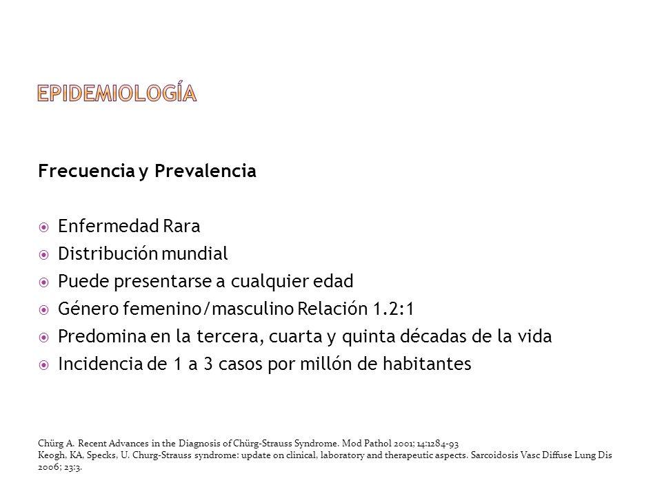 Frecuencia y Prevalencia Enfermedad Rara Distribución mundial Puede presentarse a cualquier edad Género femenino/masculino Relación 1.2:1 Predomina en