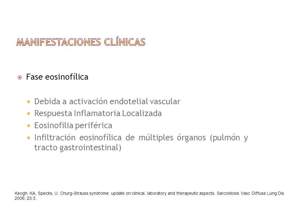 Fase eosinofílica Debida a activación endotelial vascular Respuesta Inflamatoria Localizada Eosinofilia periférica Infiltración eosinofílica de múltip