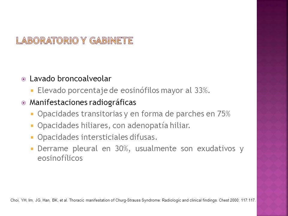 Lavado broncoalveolar Elevado porcentaje de eosinófilos mayor al 33%. Manifestaciones radiográficas Opacidades transitorias y en forma de parches en 7