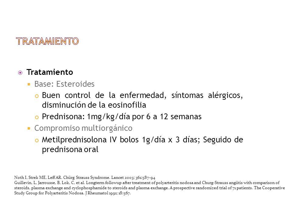 Tratamiento Base: Esteroides Buen control de la enfermedad, síntomas alérgicos, disminución de la eosinofilia Prednisona: 1mg/kg/día por 6 a 12 semana