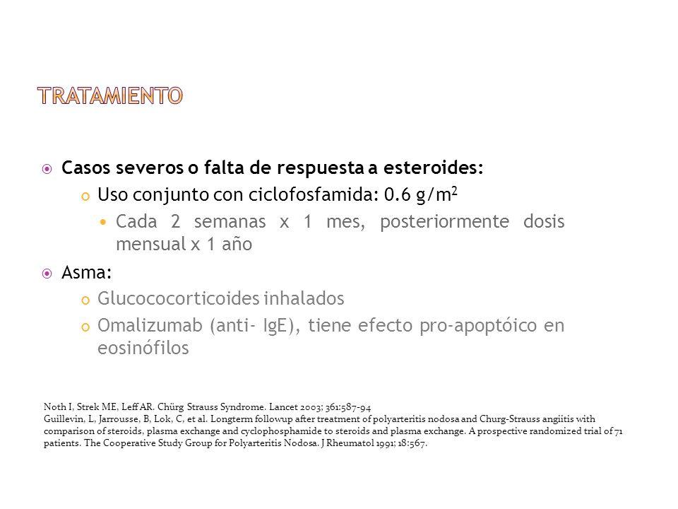 Casos severos o falta de respuesta a esteroides: Uso conjunto con ciclofosfamida: 0.6 g/m 2 Cada 2 semanas x 1 mes, posteriormente dosis mensual x 1 a
