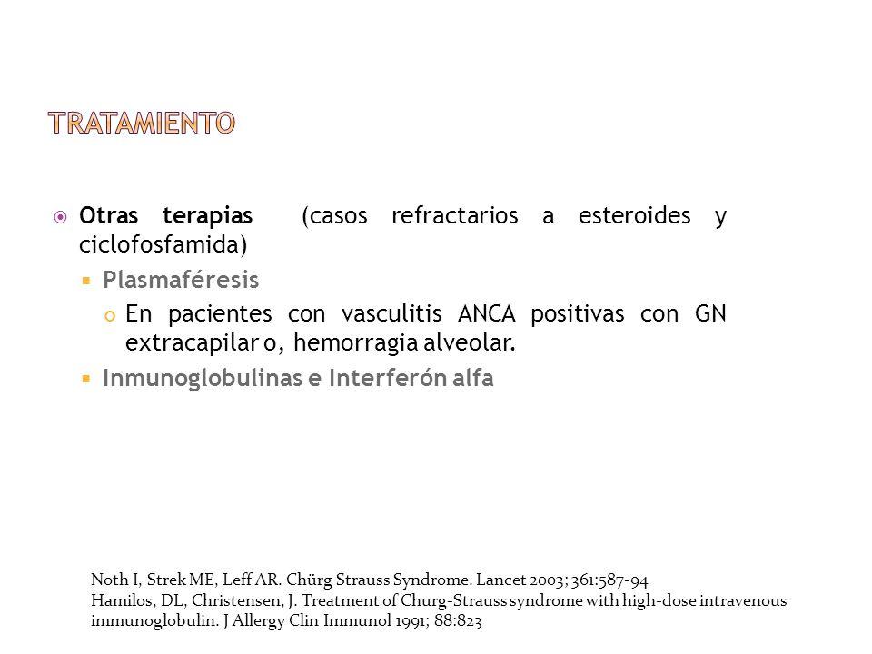 Otras terapias (casos refractarios a esteroides y ciclofosfamida) Plasmaféresis En pacientes con vasculitis ANCA positivas con GN extracapilar o, hemo