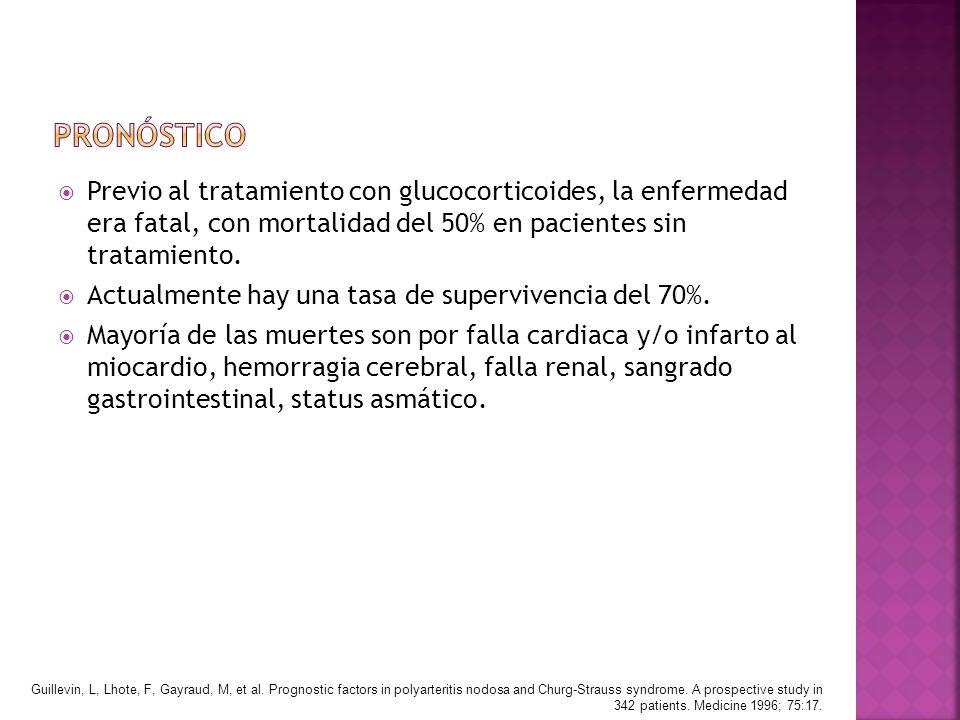 Previo al tratamiento con glucocorticoides, la enfermedad era fatal, con mortalidad del 50% en pacientes sin tratamiento. Actualmente hay una tasa de