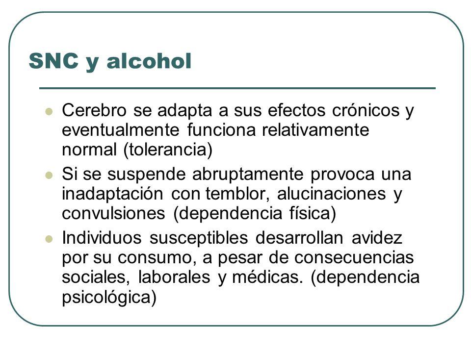 SNC y alcohol Cerebro se adapta a sus efectos crónicos y eventualmente funciona relativamente normal (tolerancia) Si se suspende abruptamente provoca