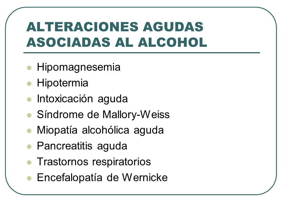 ALTERACIONES AGUDAS ASOCIADAS AL ALCOHOL Hipomagnesemia Hipotermia Intoxicación aguda Síndrome de Mallory-Weiss Miopatía alcohólica aguda Pancreatitis