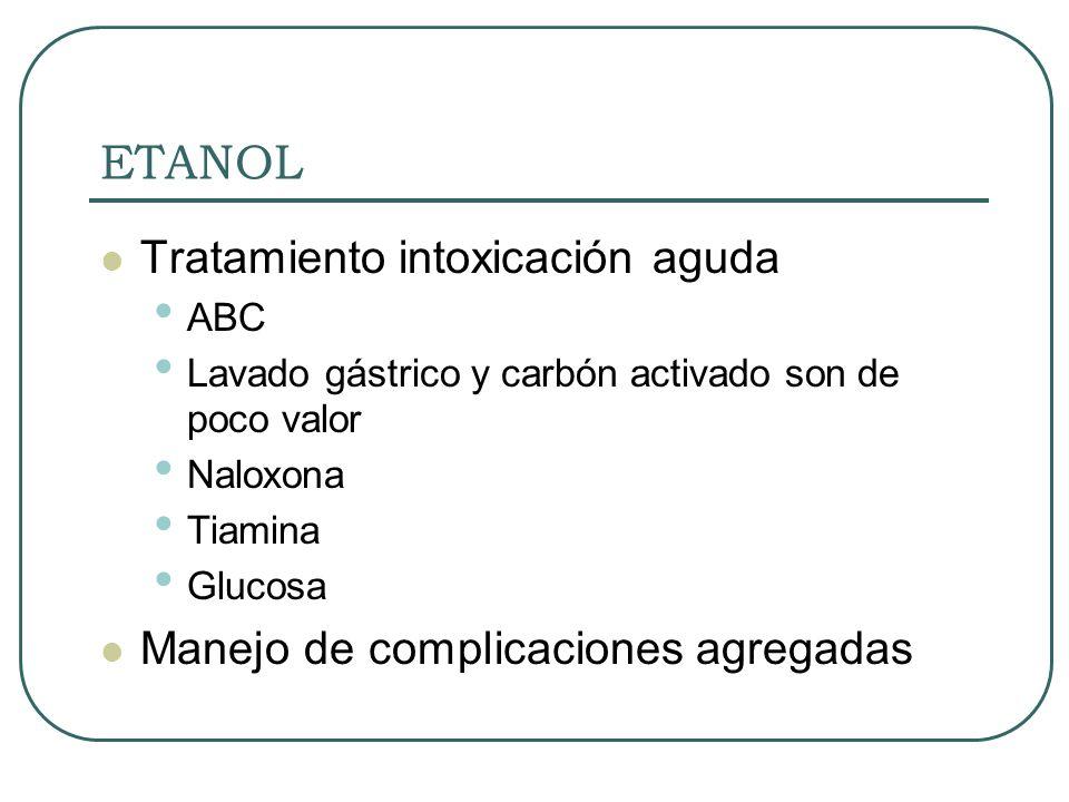 ETANOL Tratamiento intoxicación aguda ABC Lavado gástrico y carbón activado son de poco valor Naloxona Tiamina Glucosa Manejo de complicaciones agrega
