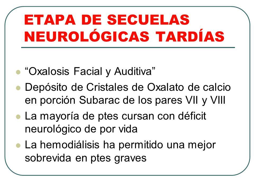 ETAPA DE SECUELAS NEUROLÓGICAS TARDÍAS Oxalosis Facial y Auditiva Depósito de Cristales de Oxalato de calcio en porción Subarac de los pares VII y VII