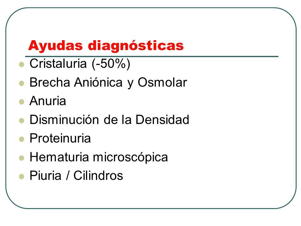 Ayudas diagnósticas Cristaluria (-50%) Brecha Aniónica y Osmolar Anuria Disminución de la Densidad Proteinuria Hematuria microscópica Piuria / Cilindr