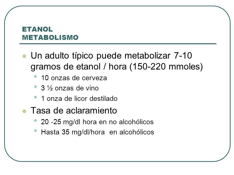 ETANOL METABOLISMO Un adulto típico puede metabolizar 7-10 gramos de etanol / hora (150-220 mmoles) 10 onzas de cerveza 3 ½ onzas de vino 1 onza de li