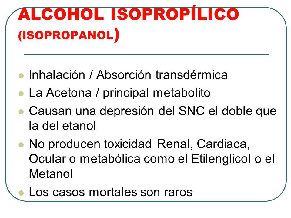 ALCOHOL ISOPROPÍLICO (ISOPROPANOL ) Inhalación / Absorción transdérmica La Acetona / principal metabolito Causan una depresión del SNC el doble que la