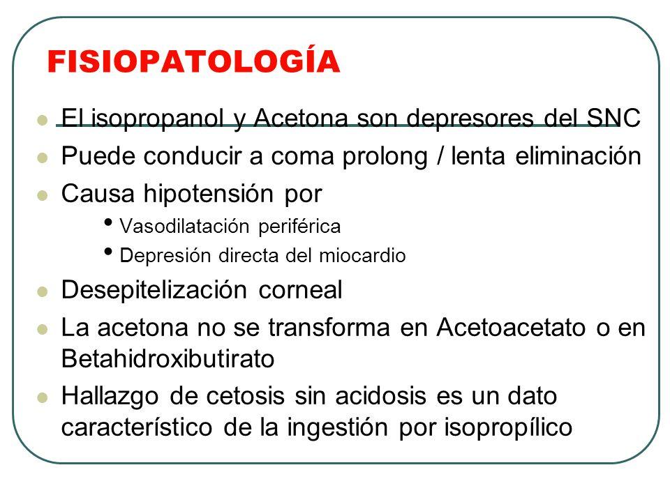 FISIOPATOLOGÍA El isopropanol y Acetona son depresores del SNC Puede conducir a coma prolong / lenta eliminación Causa hipotensión por Vasodilatación