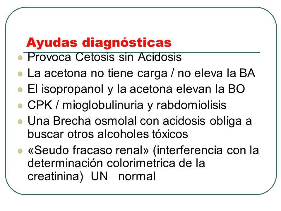 Ayudas diagnósticas Provoca Cetosis sin Acidosis La acetona no tiene carga / no eleva la BA El isopropanol y la acetona elevan la BO CPK / mioglobulin