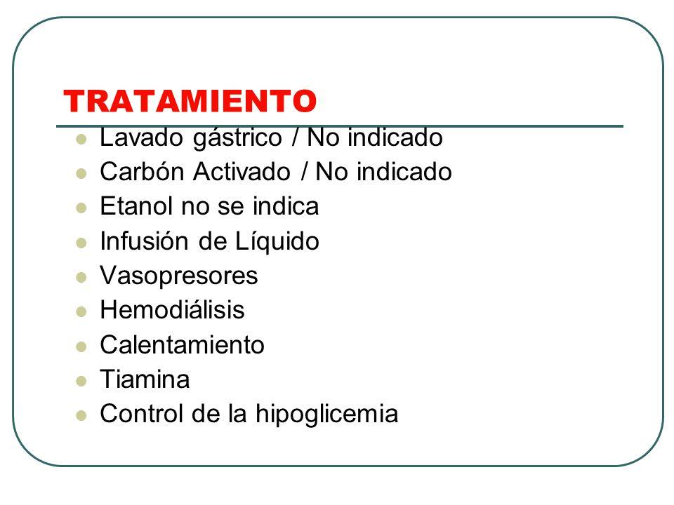 TRATAMIENTO Lavado gástrico / No indicado Carbón Activado / No indicado Etanol no se indica Infusión de Líquido Vasopresores Hemodiálisis Calentamient