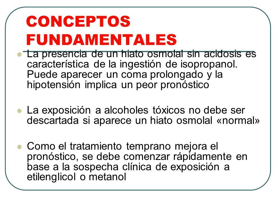 CONCEPTOS FUNDAMENTALES La presencia de un hiato osmolal sin acidosis es característica de la ingestión de isopropanol. Puede aparecer un coma prolong