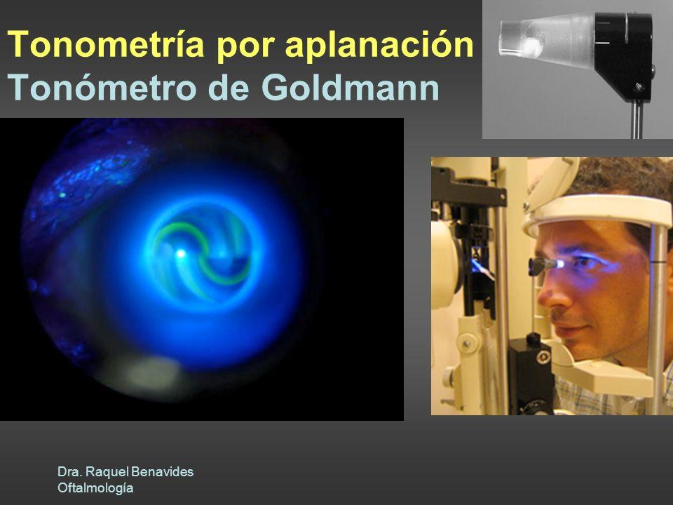Dra. Raquel Benavides Oftalmología Fuerza aplicada por unidad de área Principio Imbert-Fick Peculiaridades ojo Tonómetro doble prisma 3.06 mm diámetro