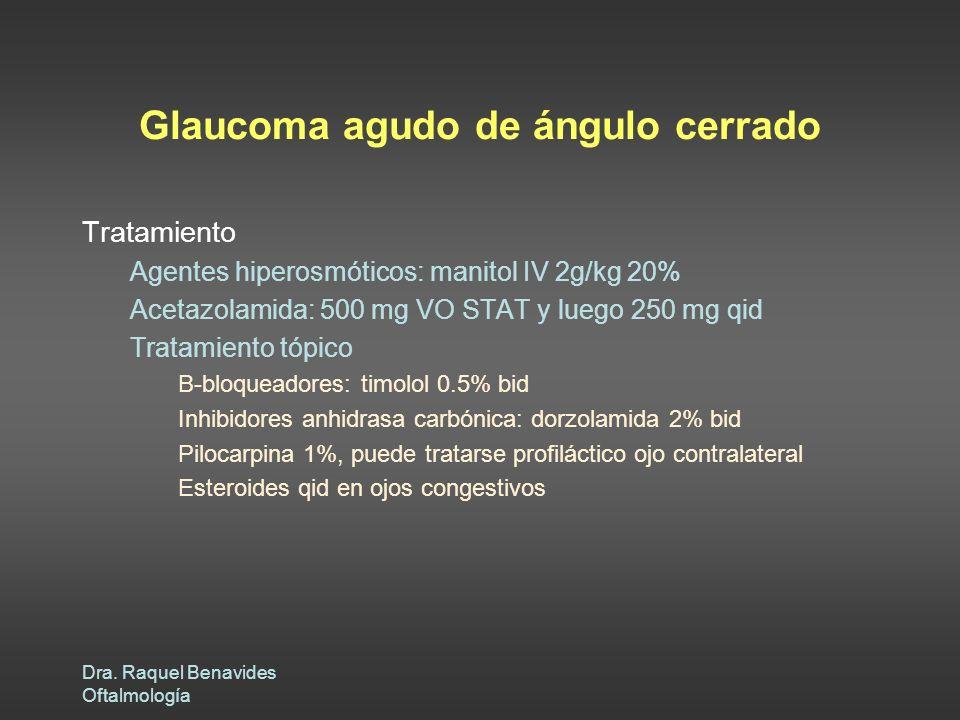 Dra. Raquel Benavides Oftalmología Glaucoma agudo de ángulo cerrado Tratamiento Agentes hiperosmóticos: manitol IV 2g/kg 20% Acetazolamida: 500 mg VO