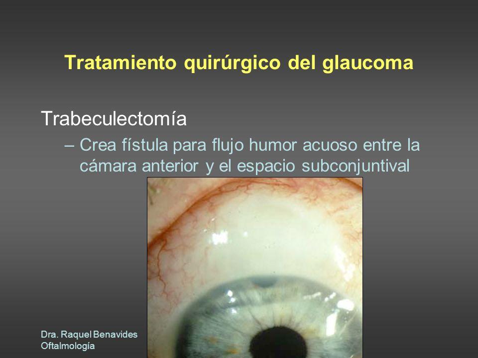 Dra. Raquel Benavides Oftalmología Tratamiento quirúrgico del glaucoma Trabeculectomía –Crea fístula para flujo humor acuoso entre la cámara anterior