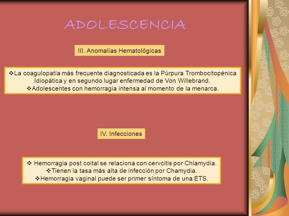 ADOLESCENCIA III. Anomalías Hematológicas La coagulopatía más frecuente diagnosticada es la Púrpura Trombocitopénica Idiopática y en segundo lugar enf