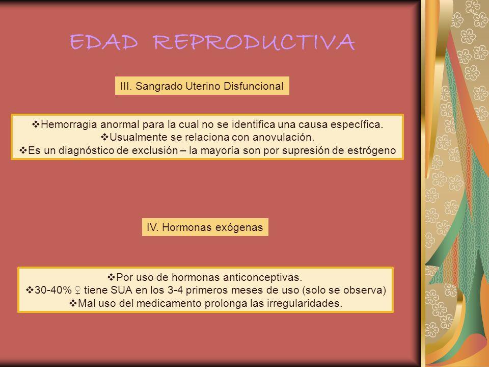 III. Sangrado Uterino Disfuncional Hemorragia anormal para la cual no se identifica una causa específica. Usualmente se relaciona con anovulación. Es