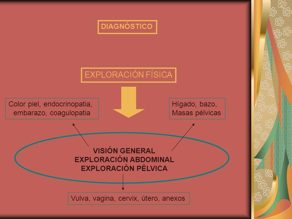 VISIÓN GENERAL EXPLORACIÓN ABDOMINAL EXPLORACIÓN PÉLVICA EXPLORACIÓN FÍSICA Color piel, endocrinopatia, embarazo, coagulopatia Hígado, bazo, Masas pél