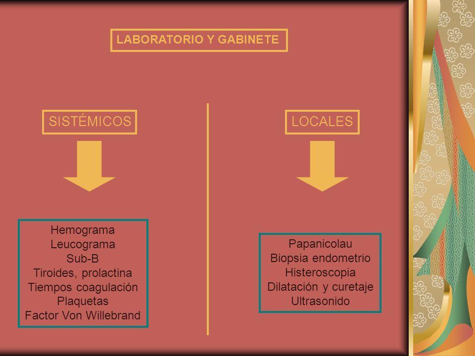 LABORATORIO Y GABINETE SISTÉMICOSLOCALES Hemograma Leucograma Sub-B Tiroides, prolactina Tiempos coagulación Plaquetas Factor Von Willebrand Papanicol