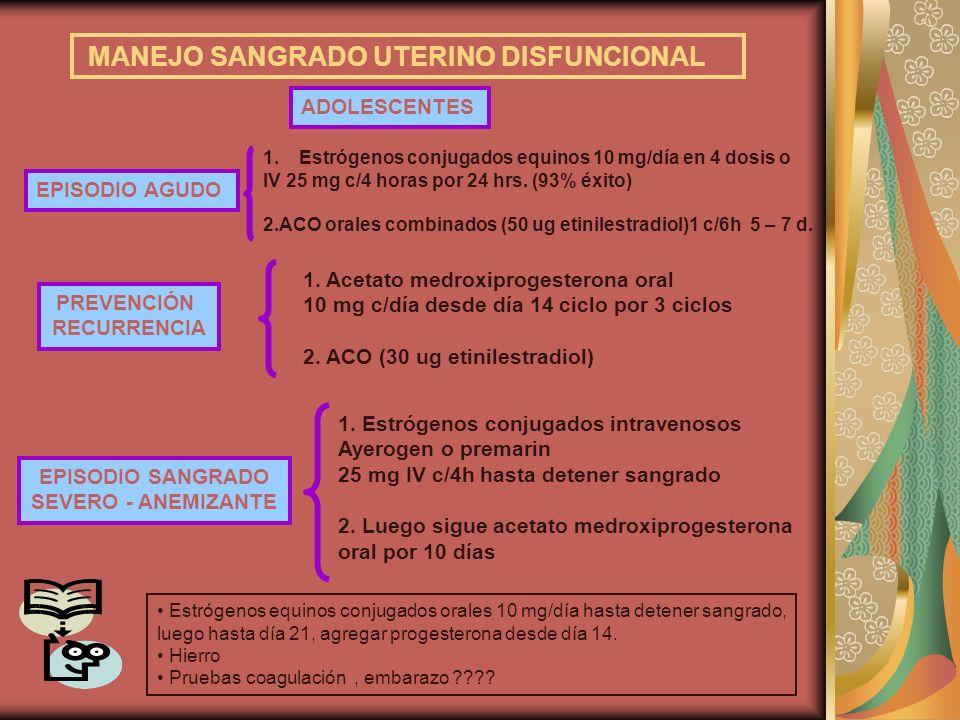 MANEJO SANGRADO UTERINO DISFUNCIONAL ADOLESCENTES EPISODIO SANGRADO SEVERO - ANEMIZANTE 1. Estrógenos conjugados intravenosos Ayerogen o premarin 25 m
