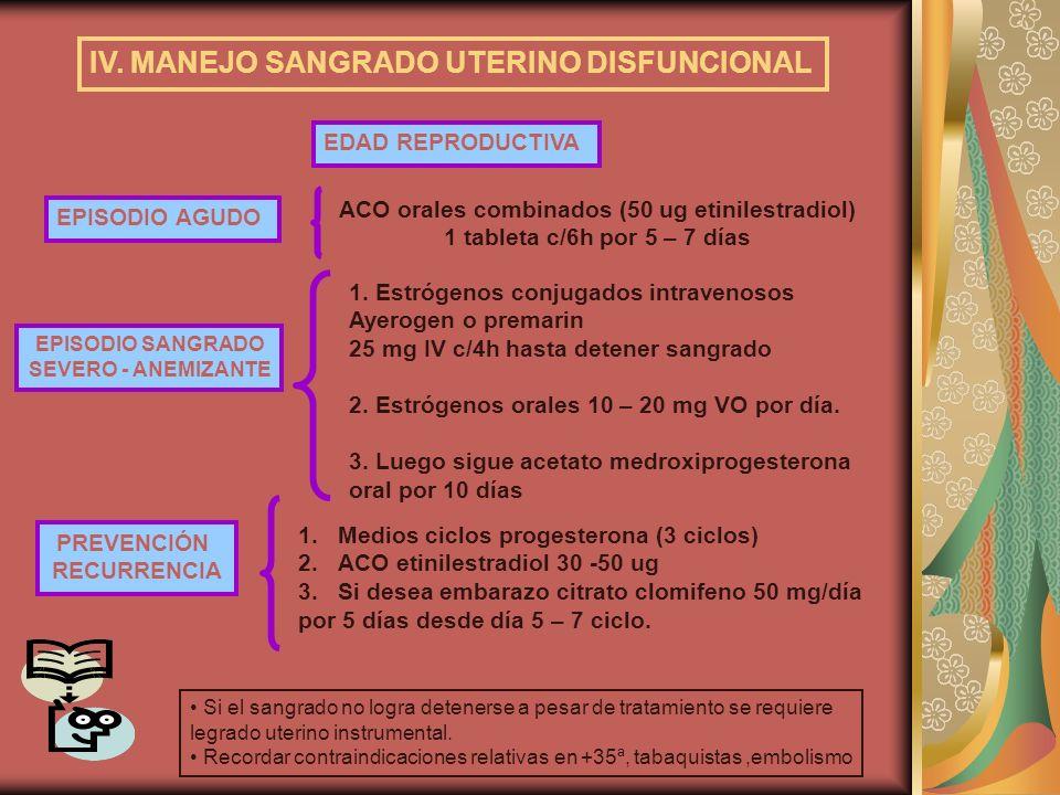 IV. MANEJO SANGRADO UTERINO DISFUNCIONAL EDAD REPRODUCTIVA PREVENCIÓN RECURRENCIA EPISODIO SANGRADO SEVERO - ANEMIZANTE 1. Estrógenos conjugados intra