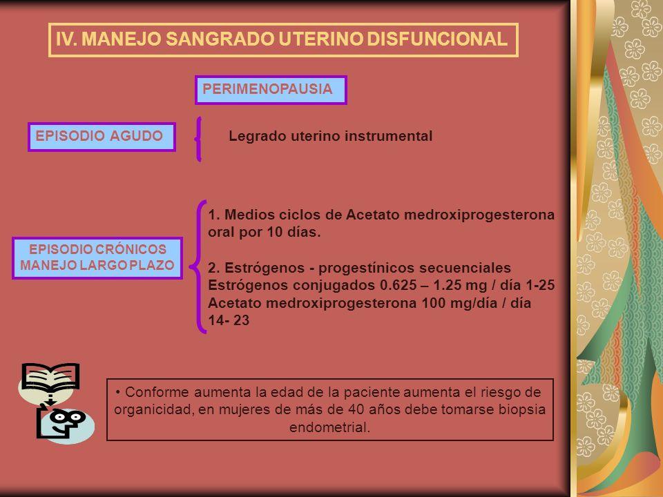 IV. MANEJO SANGRADO UTERINO DISFUNCIONAL PERIMENOPAUSIA EPISODIO CRÓNICOS MANEJO LARGO PLAZO 1. Medios ciclos de Acetato medroxiprogesterona oral por