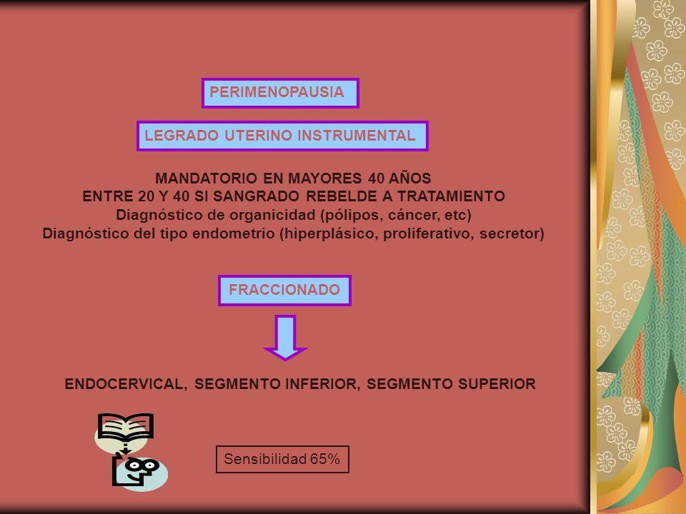 PERIMENOPAUSIA LEGRADO UTERINO INSTRUMENTAL MANDATORIO EN MAYORES 40 AÑOS ENTRE 20 Y 40 SI SANGRADO REBELDE A TRATAMIENTO Diagnóstico de organicidad (