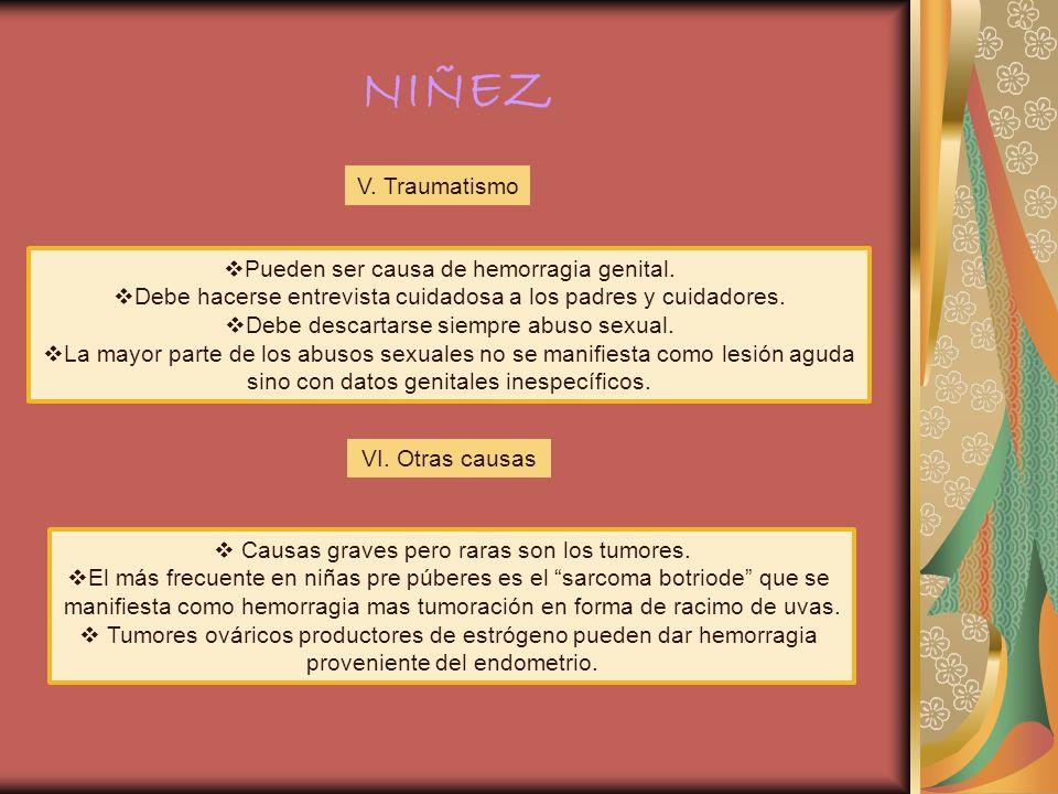 CAUSAS DE SANGRADO VAGINAL DURANTE LA NIÑEZ CAUSAS VULVARES Y EXTERNAS: Vulvitis con excoriación, traumatismo, liquen escleroso, condilomas, molusco contagioso, prolapso uretral.