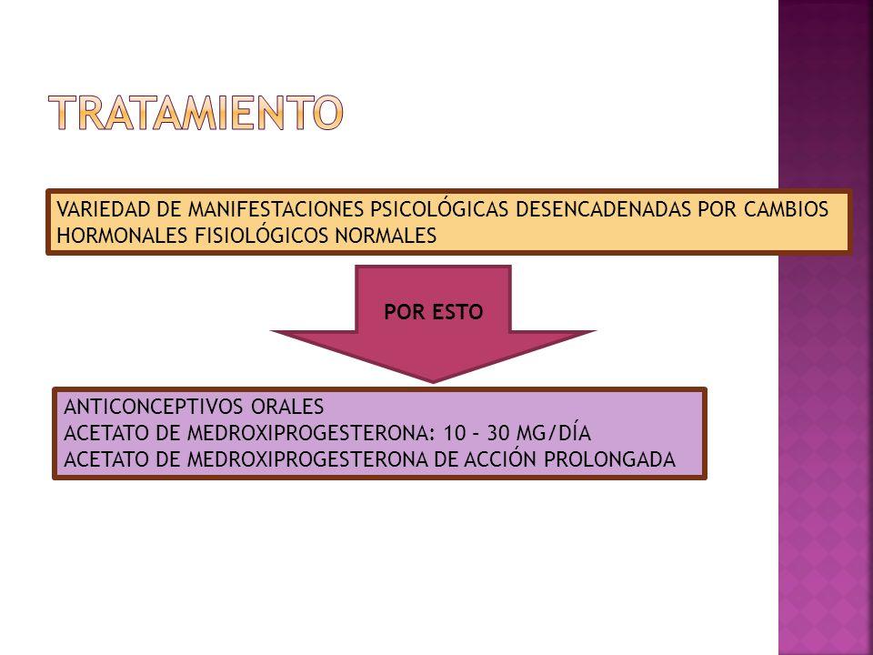 VARIEDAD DE MANIFESTACIONES PSICOLÓGICAS DESENCADENADAS POR CAMBIOS HORMONALES FISIOLÓGICOS NORMALES POR ESTO ANTICONCEPTIVOS ORALES ACETATO DE MEDROX