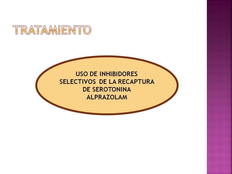 USO DE INHIBIDORES SELECTIVOS DE LA RECAPTURA DE SEROTONINA ALPRAZOLAM