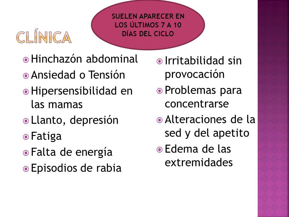 Hinchazón abdominal Ansiedad o Tensión Hipersensibilidad en las mamas Llanto, depresión Fatiga Falta de energía Episodios de rabia Irritabilidad sin p