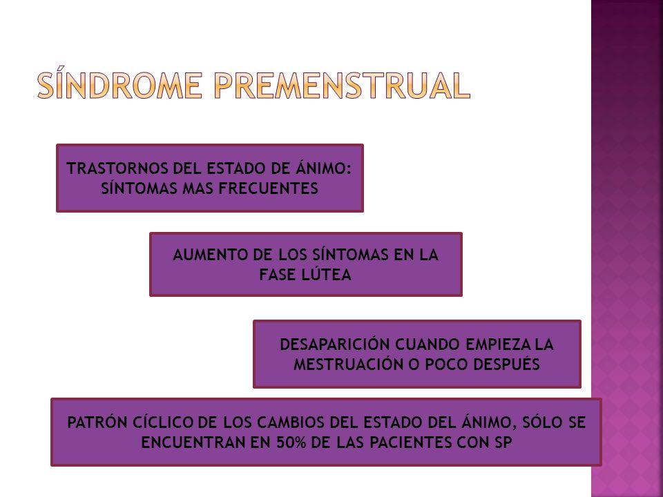 Cambios hormonales del ciclo menstrual no constituye un factor etiológico Pueden provocar alteraciones en el estado de ánimo en las mujeres sensibles