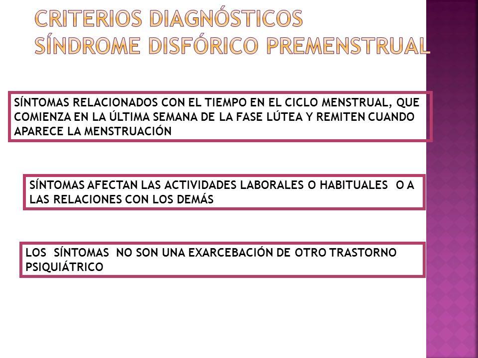 RETENCIÓN DE LÍQUIDOS DIURÉTICOS COMO ESPIRINOLACTONA DISMENORREA INHIBIDORES DE LAS PROSTAGLANDINAS ANTICONCEPTIVOS ORALES SUPLEMENTOS DE CALCIO 1200 MG/DÍA:REDUCCIÓN DE LOS SÍNTOMAS EN UN 48%