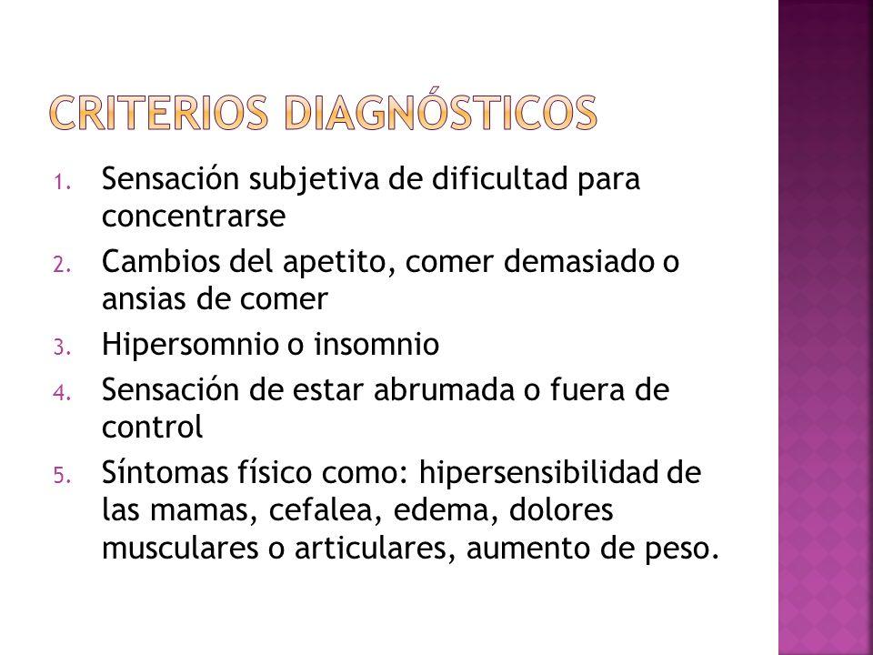 1. Sensación subjetiva de dificultad para concentrarse 2. Cambios del apetito, comer demasiado o ansias de comer 3. Hipersomnio o insomnio 4. Sensació