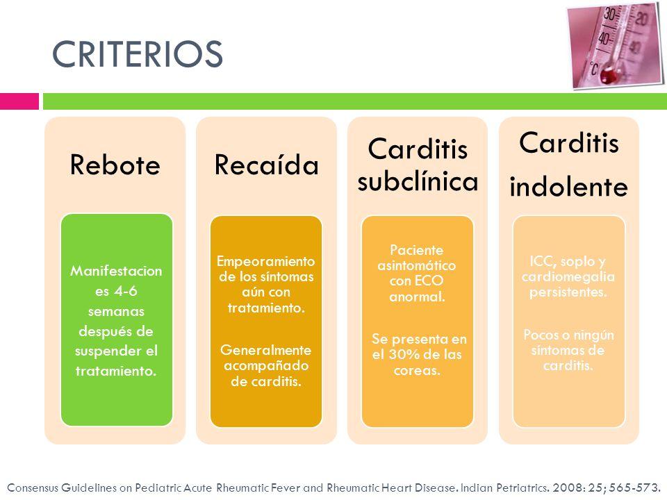 CRITERIOS ReboteRecaída Empeoramiento de los síntomas aún con tratamiento. Generalmente acompañado de carditis. Carditis subclínica Paciente asintomát