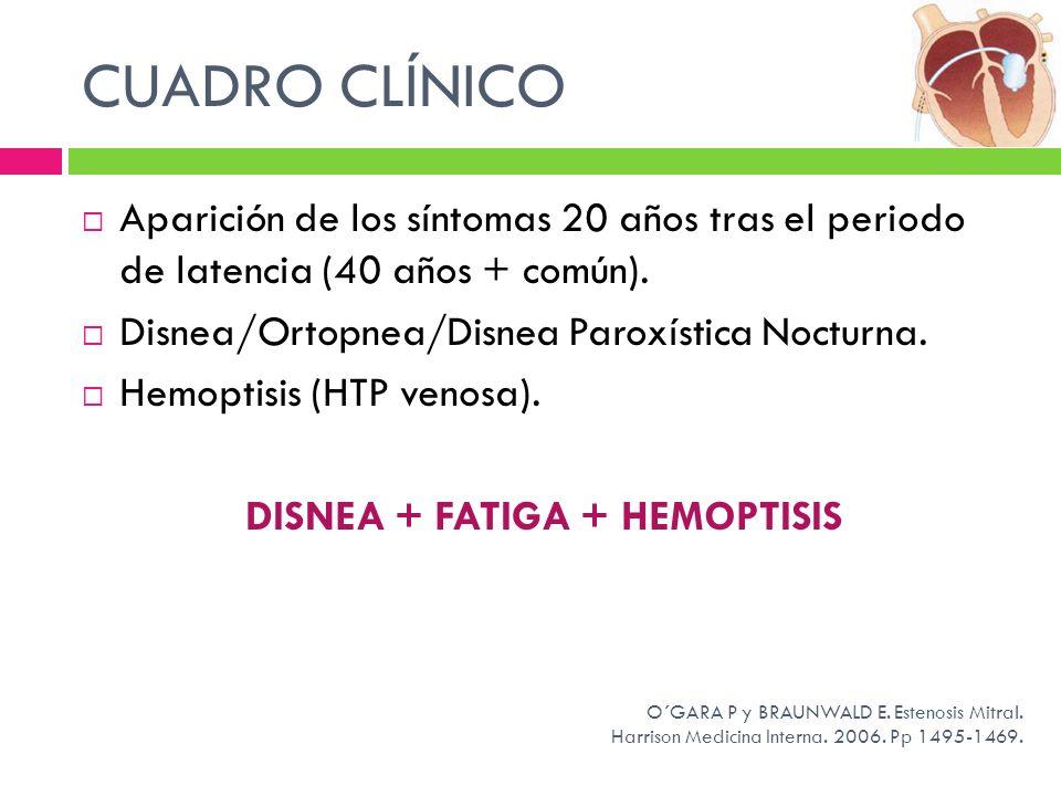 CUADRO CLÍNICO Aparición de los síntomas 20 años tras el periodo de latencia (40 años + común). Disnea/Ortopnea/Disnea Paroxística Nocturna. Hemoptisi