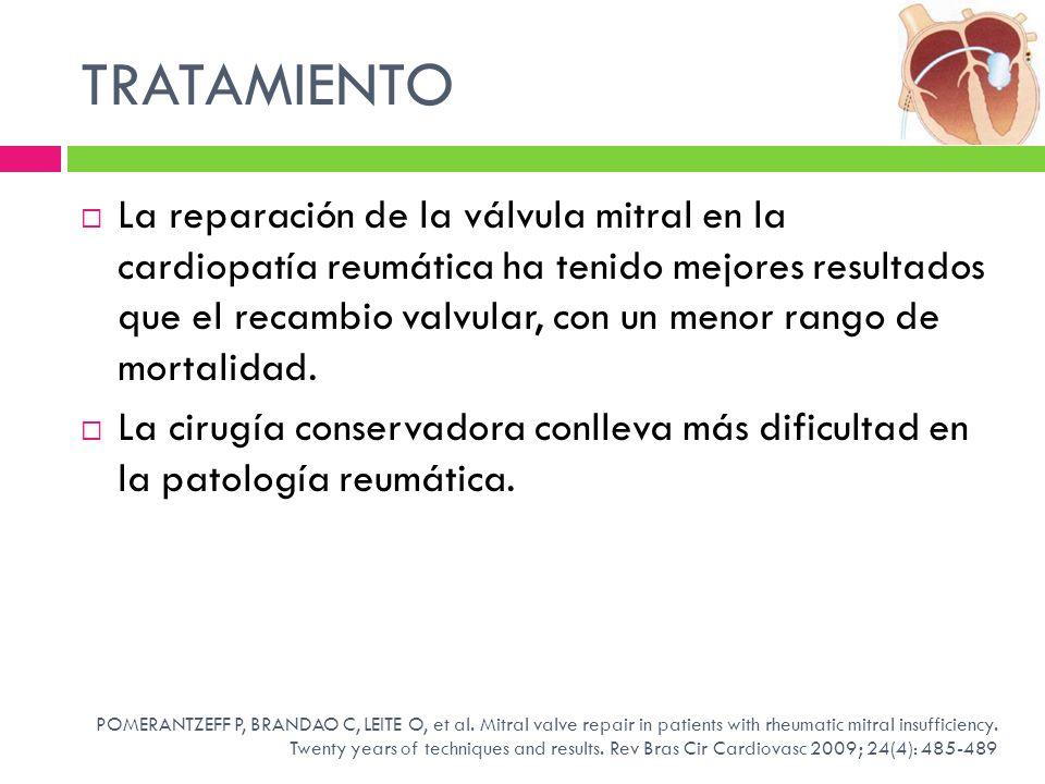 TRATAMIENTO La reparación de la válvula mitral en la cardiopatía reumática ha tenido mejores resultados que el recambio valvular, con un menor rango d