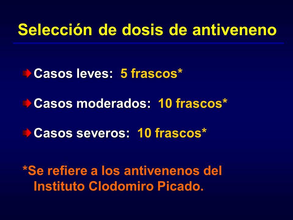 Selección de dosis de antiveneno Casos leves: Casos leves: 5 frascos* Casos moderados: Casos moderados: 10 frascos* Casos severos: Casos severos: 10 f