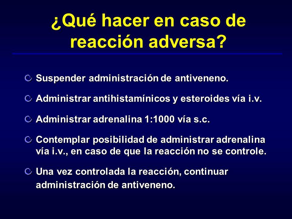 ¿Qué hacer en caso de reacción adversa? Suspender administración de antiveneno. Administrar antihistamínicos y esteroides vía i.v. Administrar adrenal