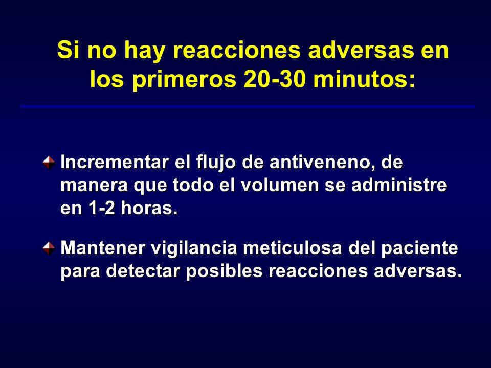 Si no hay reacciones adversas en los primeros 20-30 minutos: Incrementar el flujo de antiveneno, de manera que todo el volumen se administre en 1-2 ho