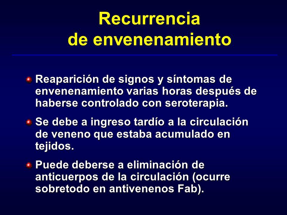 Recurrencia de envenenamiento Reaparición de signos y síntomas de envenenamiento varias horas después de haberse controlado con seroterapia. Se debe a