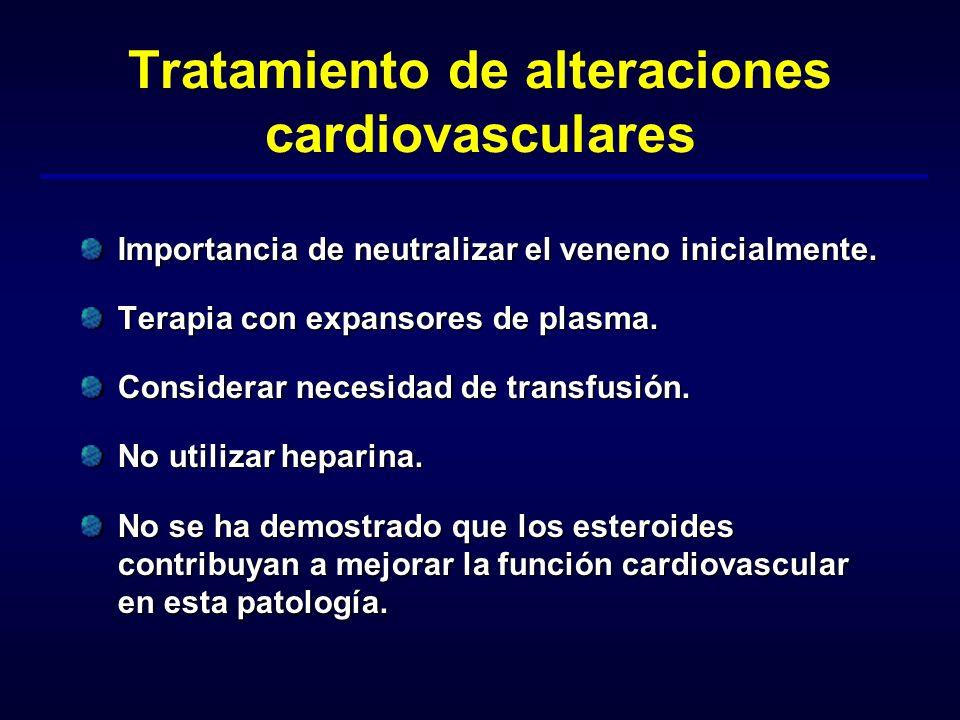 Tratamiento de alteraciones cardiovasculares Importancia de neutralizar el veneno inicialmente. Terapia con expansores de plasma. Considerar necesidad