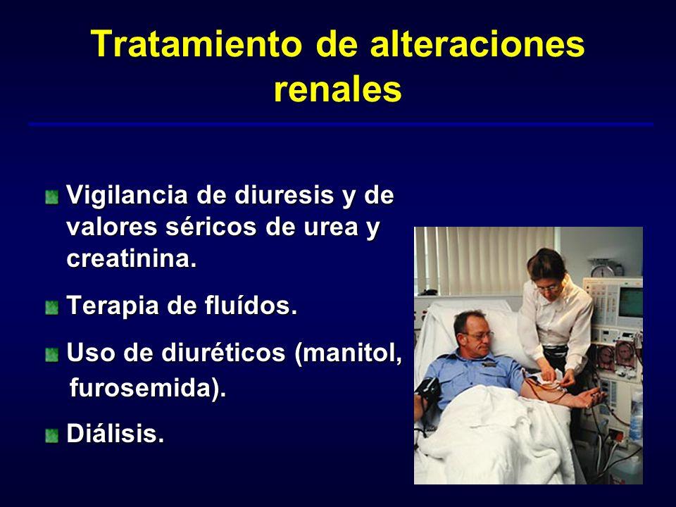 Tratamiento de alteraciones renales Vigilancia de diuresis y de valores séricos de urea y creatinina. Terapia de fluídos. Uso de diuréticos (manitol,