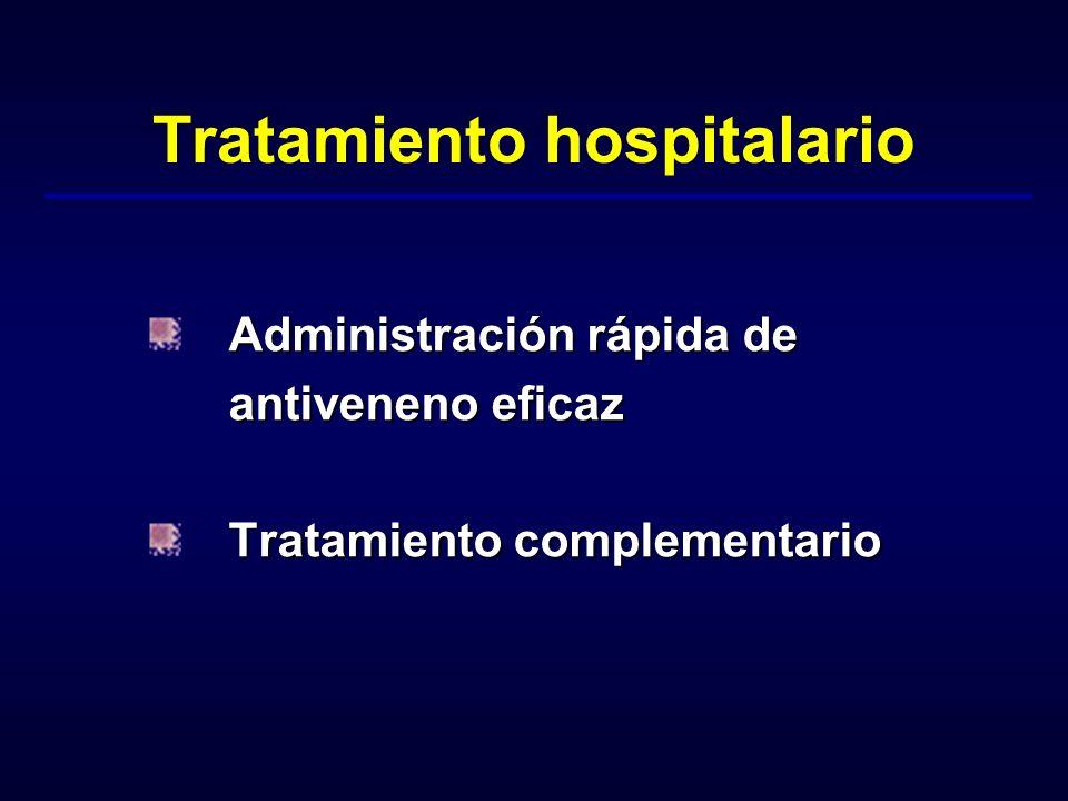 Tratamiento hospitalario Administración rápida de antiveneno eficaz antiveneno eficaz Tratamiento complementario